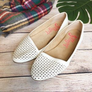 Jellypop Cream Perforated Pointed Flats Size 7.5